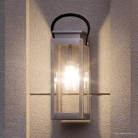 """Luxury Modern Farmhouse Outdoor Wall Light, 19.375""""H x 7.875""""W, with Nautical Style, Stainless Steel Finish by Urban Ambiance"""