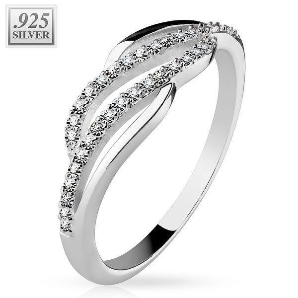 Micro CZ Pave Lines Center Wave .925 Sterling Silver with Authentic Rodium Finish Ring (Sold Ind.)