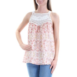 JOIE $288 Womens New 1184 Pink Embroidered Square Neck Sleeveless Top XS B+B