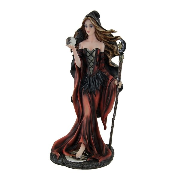 Red Lunar Witch Statue in Black Cloak w/Raven, Moon Staff and Crystal Ball - 10.25 X 5.5 X 4 inches
