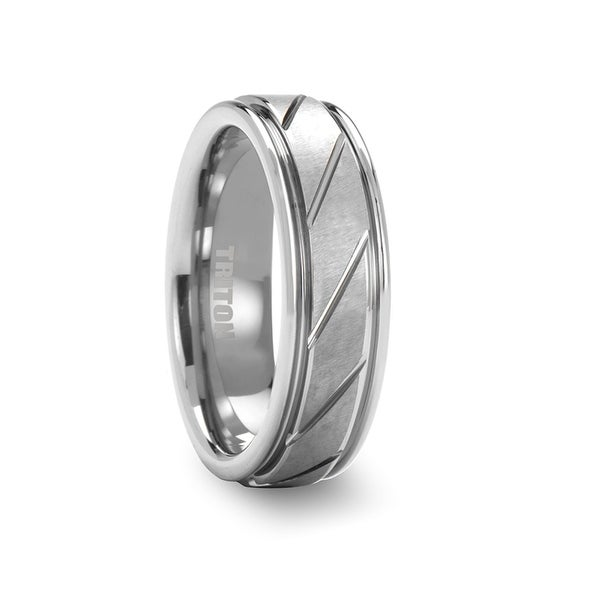 ADLER White Tungsten Wedding Band with Diagonally Grooved Center by Triton Rings - 7mm