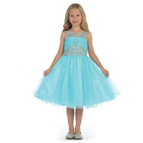 Angels Garment Girls Aqua Beaded Tulle Junior Bridesmaid/Flower Girl Dress