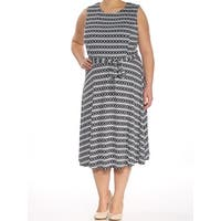 CHARTER CLUB Womens Blue Printed Sleeveless Scoop Neck Below The Knee Fit + Flare Dress  Size: XL