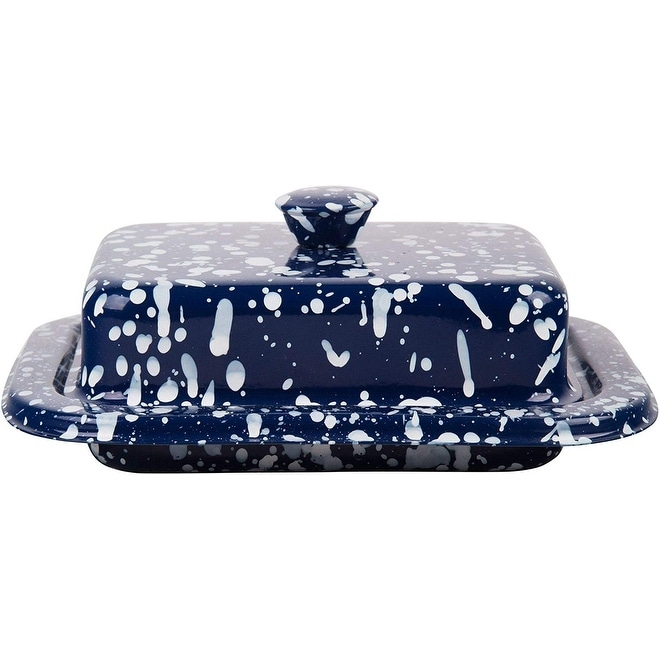 Blue Speckled Palais Essentials Stainless Steel Covered Butter Dish