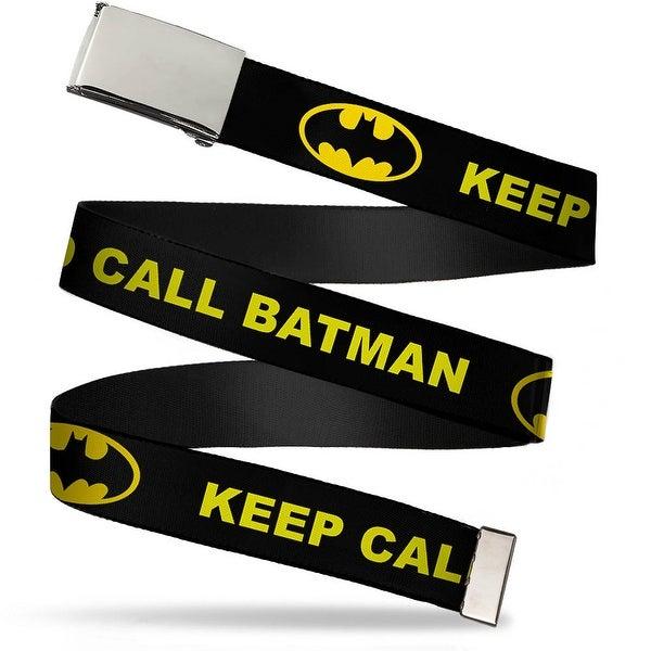 Blank Chrome Bo Buckle Keep Calm And Call Batman W Logo Black Yellow Web Belt