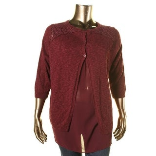 Lucky Brand Womens Plus Linen Layered Pullover Sweater - 3X