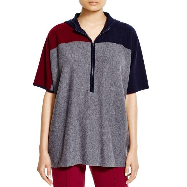 Tory Burch Womens Tunic Sweater Merino Wool Hooded