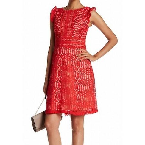 ad41f9d0f9d1f Sangria NEW Hot Red Nude Women's Size 10 Seamed Sheath Lace Dress