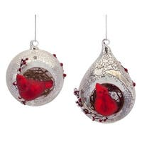 """Pack of 6 Rustic Red Cardinal Bird Mercury Glass Ball and Teardrop Christmas Ornaments 5.5"""" - silver"""