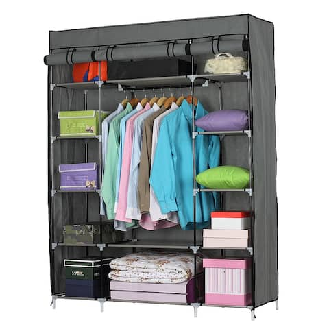 5-Layer 12-Compartment Non-woven Fabric Wardrobe Portable Closet (52.4 x 18.1 x 67)""