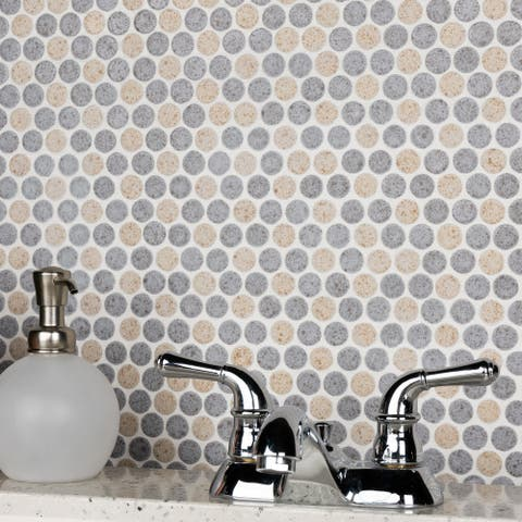 """SomerTile Hudson Penny Round Matte Cookies and Cream 12"""" x 12.63"""" Porcelain Mosaic Tile"""