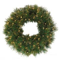 "36"" Pre-Lit Tattinger Long Needle Pine Artificial Christmas Wreath - Clear"