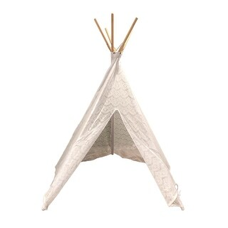 White Cotton Lace Teepee Play Tent 74 inch Tall