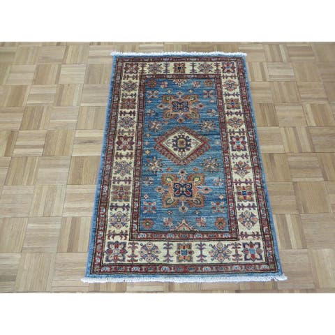 """Hand Knotted Blue Kazak with 100% Wool Oriental Rug (2'7"""" x 4') - 2'7"""" x 4'"""