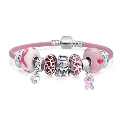 Breast Cancer Survivor Pink Charms Bracelet Leather Sterling Silver