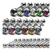 "Surgical Steel Barbell with Press Fit Gem Set Ball (Sold Individually) - 16 GA 1/4"" Long (4mm Balls)"