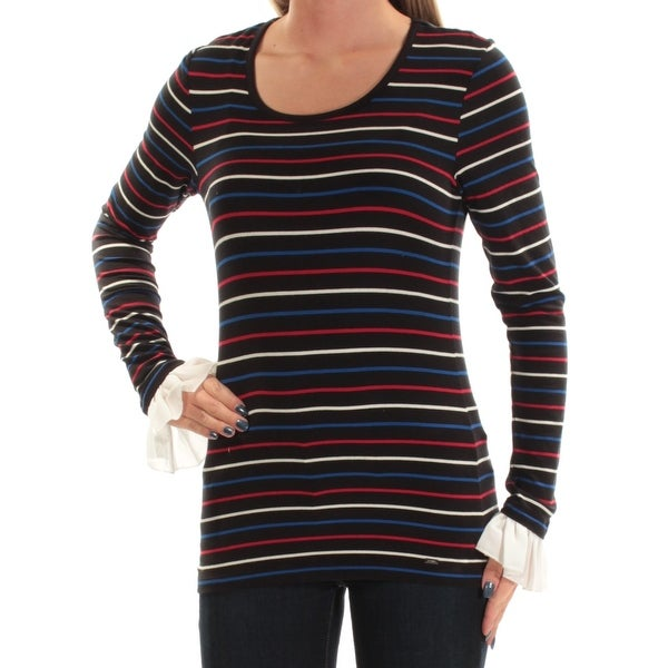 0bf436a7f08 Shop TOMMY HILFIGER Womens Black Lace Striped Long Sleeve Scoop Neck Top  Size  XS - On Sale - Free Shipping On Orders Over  45 - Overstock - 27029650