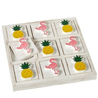 "Set of 2 Pineapple and Flamingo Tic Tac Toe Board Game 10.75"" - Pink"