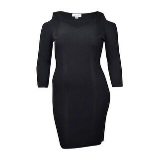 Calvin Klein Women's Cold Shoulder Sheath Sweater Dress (L, Black) - l