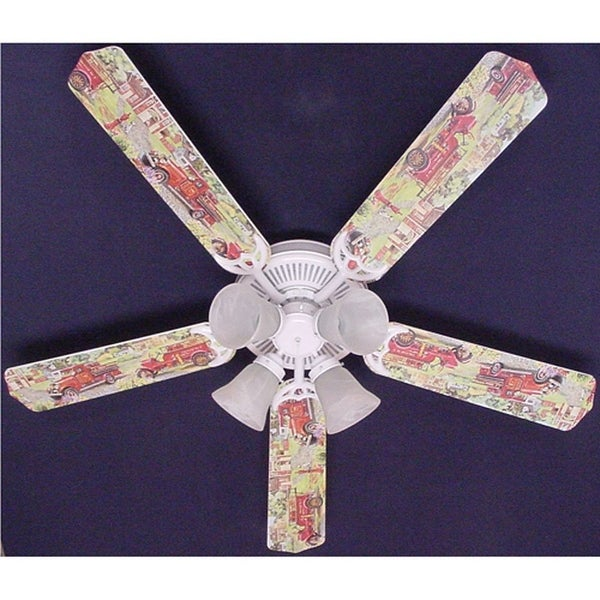 Nostalgic Fire truck Print Blades 52in Ceiling Fan Light Kit - Multi