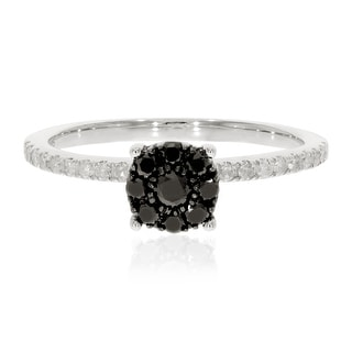 0.43 Ctw Classic Round Briliant Cut Black Diamond with Natural White Diamond Engagement Ring