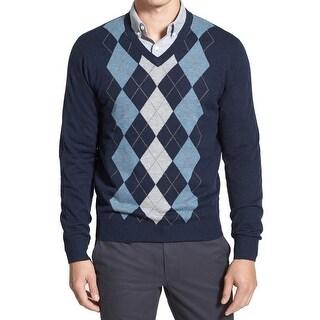 Toscano NEW Blue Grey Mens Size XL Argyle V-Neck Wool Knit Sweater