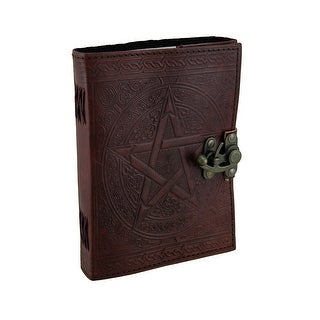 Pentagram Embossed Brown Leather Bound Journal 5x7 in.