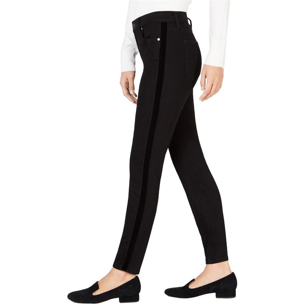 Maison Jules Womens Side-Stripe Skinny Fit Jeans