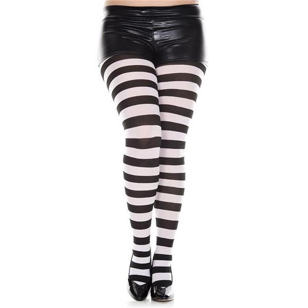 fac842b1202 7419Q-BLACK-WHITE Plus Size Wide Striped Tights amp  44  Black  amp