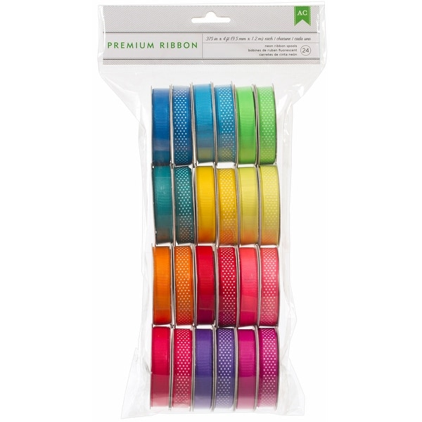 "Premium Ribbon Value Pack .375""X4' 24/Spools-Neon"
