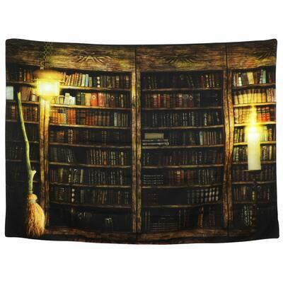 """Wall Tapestry Hanging Retro Bookshelf - 59"""" x 51"""""""