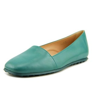 Tod's Gomma WD Pantofola Women Round Toe Leather Green Flats