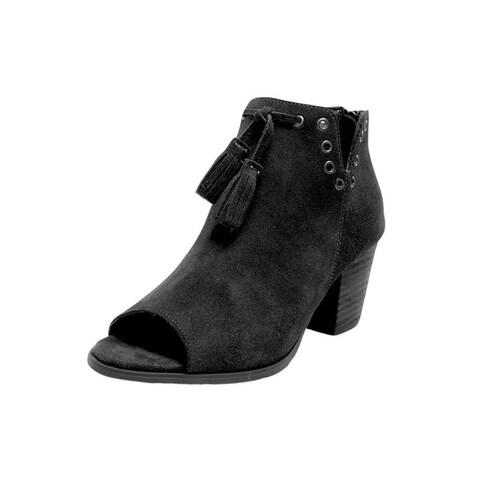 Minnetonka Boots Womens Margot Ankle Back Zip Suede Black