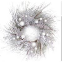 "26"" Snowy Winter Glittered and Flocked Pine Branches with Ornaments Christmas Wreath"