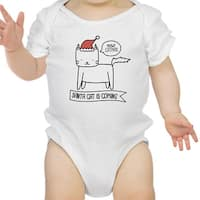 Meowy Catmas Santa Cat Cute Graphic Baby Bodysuit White Cotton Top