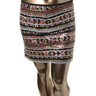 Guess Womens Sequined Fitted Mini Skirt - M
