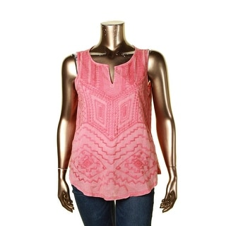 Lucky Brand Womens Pullover Top V-neck Embroidered - xL