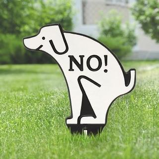 Whitehall No Poop Dog Silhouette Cast Aluminum Yard Sign (White/Black)