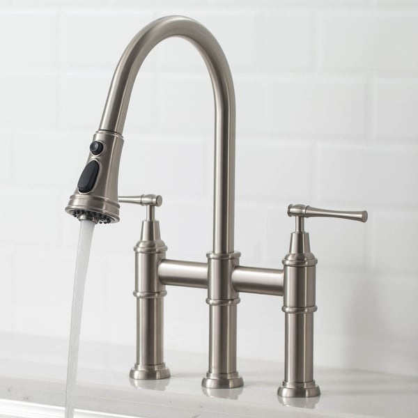 Kraus Allyn Traditional 3-Function Bridge Pulldown Kitchen Faucet. Opens flyout.