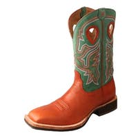 Twisted X Western Boots Men Horseman Square Cognac Neon Green