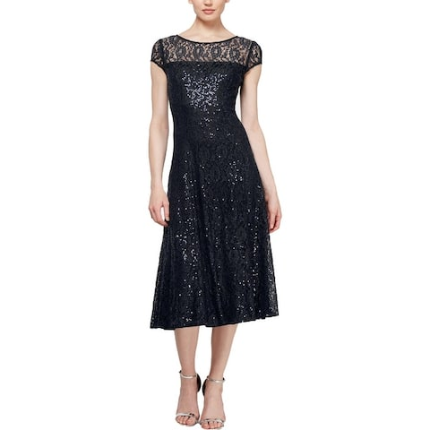 SLNY Womens Midi Dress Lace Sequined
