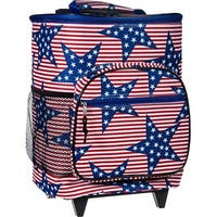 Palais Dinnerware Insulated Rolling Cooler With Wheels and Retractable Handle With Zippered Pocketsb USA Pattern
