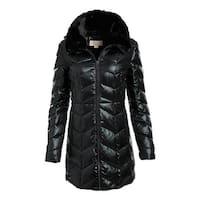 Michael Michael Kors Black Chevron Quilted Puffer Coat