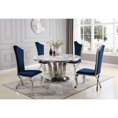 Best Quality Furniture White 5pc Marble Luxe Upholstered Dining Set