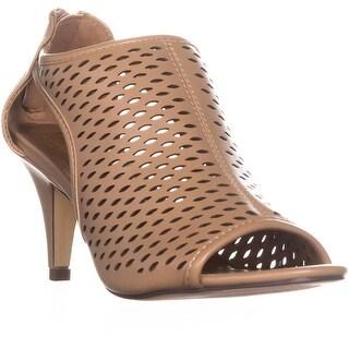 SC35 Haddiee Perforated Caged Peep Toe Heels, Sandalwood