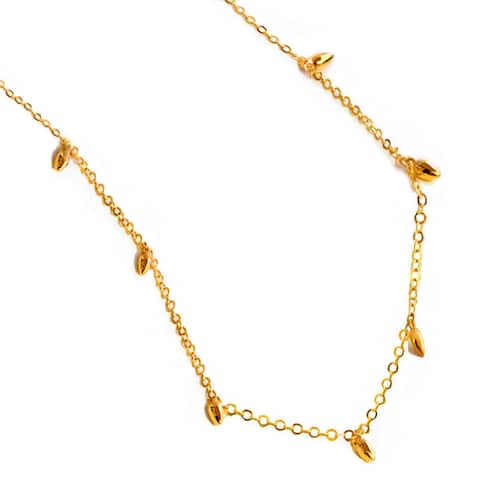 RICE Bead Thin Chain Necklace in 18K Gold Vermeil - Sterling Silver base