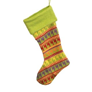 "18.5"" Green Multi-Colored Knitted Christmas Stocking"