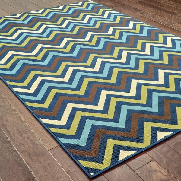 Chevron Floor Cloth Teal Highlight