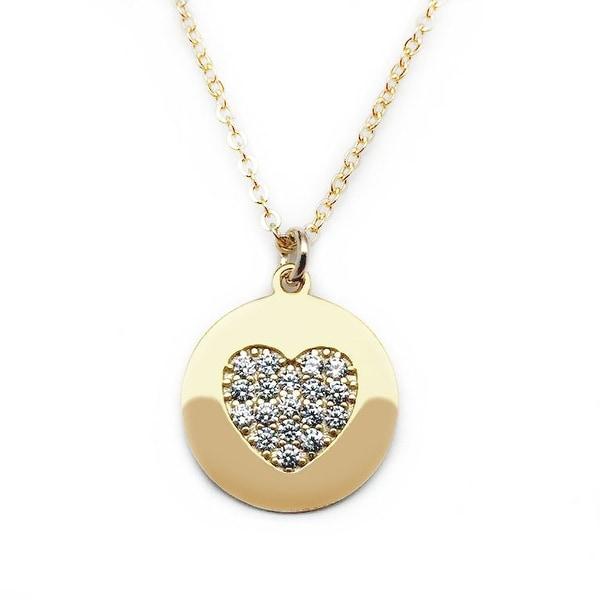 """Julieta Jewelry CZ Heart Disc Gold Charm 16"""" Necklace"""