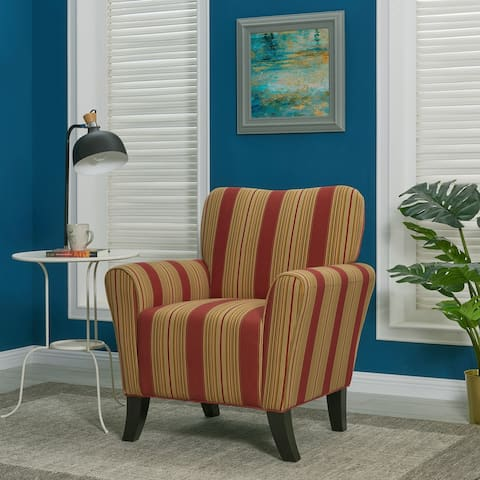 Copper Grove Virgie Red Stripe Curved Back Arm Chair